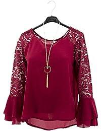 Bordado de encaje camisa de manga larga de las flores de la blusa atractiva de la