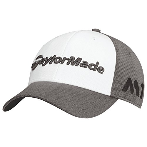 TaylorMade 2017 Tour Radar M1 Performance Mens Structured Golf Cap-Adjustable Grey/White