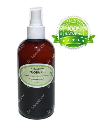 Jojoba Oil Great for Skin Hair Face & Nails Lips Cuticles Stretch Marks Beard Amber Bottle Comes with a Sprayer 8 oz