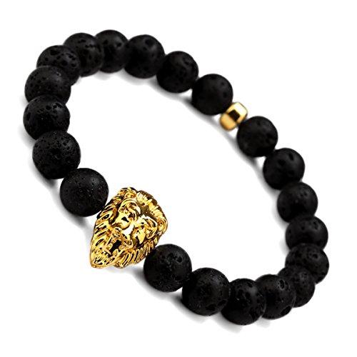 nyuk Mens perline nero naturale vulcanica Rock oro testa di leone braccialetto Fashion Hip Hop originale, Lega, colore: Big size, cod. LC0006