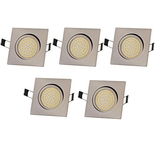 Lu-Mi 5x LED Einbaustrahler Flach 230V 3,5W Deckenspots LED Spot Ultraflach Edelstahl Gebürstet Einbauleuchten | Einbauspot Eckig | Schwenkbar | 350 Lumen | Warmweiß oder Kalweiß [Energieklasse A] (Warmweiß)