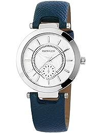 Reloj mujer bicolor, correa de piel sintética azul oscuro, con hebilla, longitud total 22 cm, 195023000202