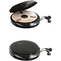 Discman Reproductor de CD portátil con auriculares in-ear pantalla LCD Disc (Reproductor de CD, reproducción portátil, dispositivo operativos, batería, Negro)