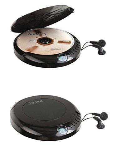 Discman Tragbarer CD-Player mit In Ear Kopfhörer LCD-Anzeige Disc-Player (CD-Spieler, Tragbar, Abspielgerät, Batteriebetrieb, Schwarz)