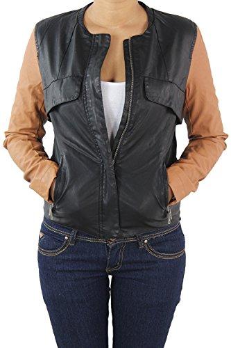 Sotala Damen Lederjacke Kunstlederjacke Leder Jacke Damenjacke Jacket  Bikerjacke S - 4XL Schwarz-Braun M 88669a0703