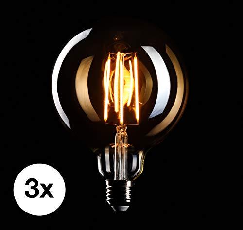 CROWN LED 3 x Edison Glühbirne E27 Fassung, Dimmbar, 4W, Warmweiß, 230V, MasterGlobe, Big-Globe, EL05, Antike Filament Beleuchtung im Retro Vintage Look