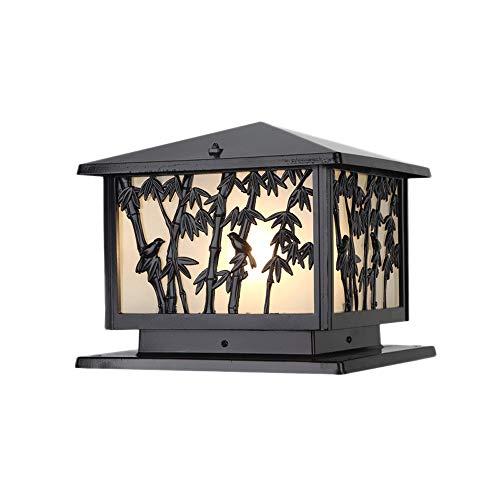 Europäische Außen 1-light Außenposten Laterne Tür Scheinwerfer Glas Luxus Kolonial Außerhalb Säule Licht Für Hof Wand Garten Landschaft Lampe E27 (Color : Black-B)