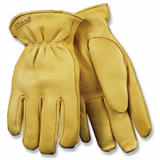 KINCO 90HK-M Men's Lined Grain Deerskin Gloves, Heat Keep Lining, Double Shirred Elastic Back, Medium, Golden by KINCO INTERNATIONAL