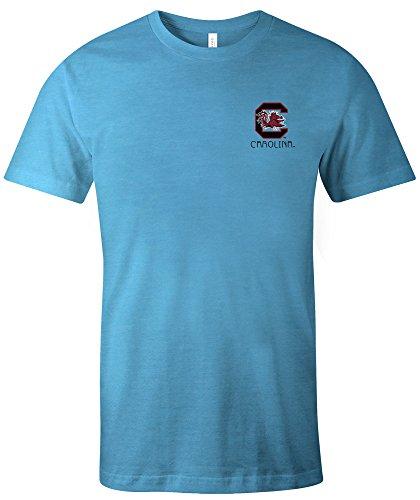 Image One NCAA South Carolina Fighting Gamecocks Erwachsenen-T-Shirt, Azteken-Muster, quadratisch, kurzärmlig, Triblend Größe XL, Aqua -