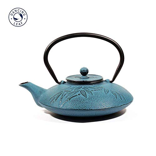 Bamboo Blue Cast Iron Tea Pot with Stainless Steel Infuser for Brewing Loose Tea | Capacity - 770ml Tetsubin-cup