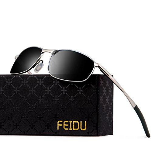 FEIDU Sonnenbrille für Männer Stilvolle HD Objektiv Metallrahmen Sonnenbrille FD 9005(Schwarzes/Silber)