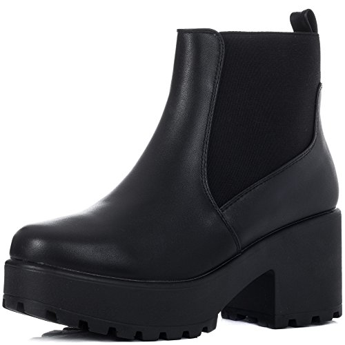 Platform Block Heel Ankle Boots Shoes Black Leather Style Sz 6 (Heel Ankle Boot Platform)
