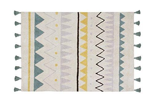 Lorena Canals groß Aztec waschbar Natur Teppich, Baumwolle, Vintage Blau, 140x 200x 30cm