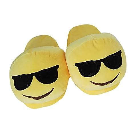 YUMOMO Unisex Herren und Damen nett Emoji Cartoon weichem Plüsch warme Pantoffeln schlüpfen 35-41 (Sonnenbrille, gelb)
