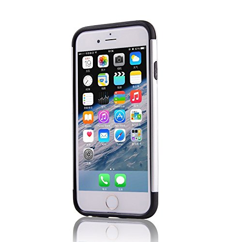 UKDANDANWEI Apple iPhone 6 2 in 1 Hybrid Armor Dual-Layer Hard PC + Flexible Soft TPU Slim Case Shock-Proof Schützende Shield für Apple iPhone 6 - Silber Silber