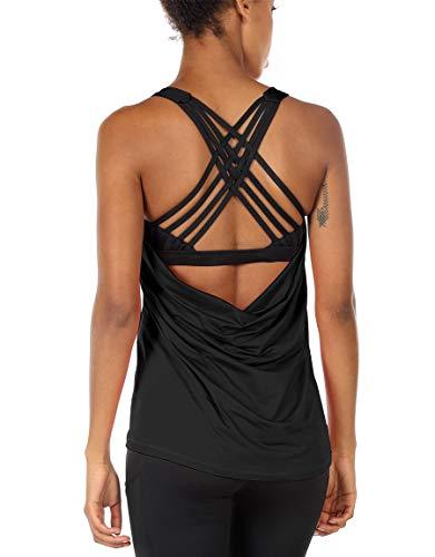 icyzone Damen Sport Tops mit Integriertem BH – 2 in 1 Yoga Gym Shirt Fitness Training Tanktop