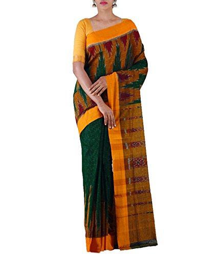 Unnati Silks Women Green-Yellow Pure Handloom Sambalpuri Cotton Ikat Saree(UNM22004)