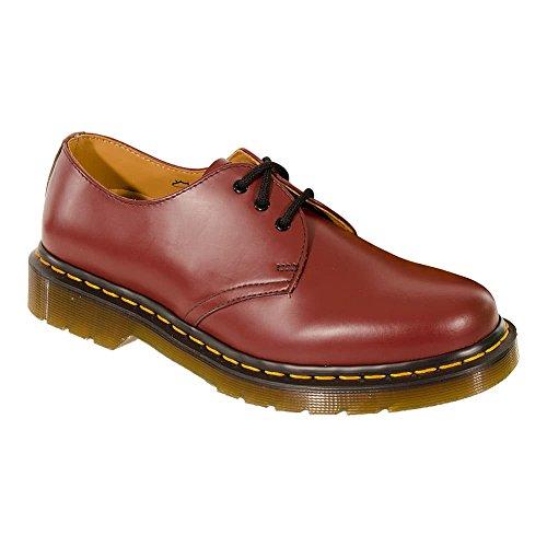 Classic Dr Martens Femme 11z 3 Chaussures En Cuir Rouge