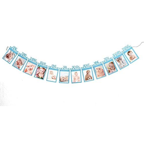 Neugeborenes bis 12 Monate Baby-Monatsfoto-Wand für 1. erste Geburtstags-Party-Dekoration, Foto-Fahnen-Baby-Wachstums-Rekord-Girlande 1-12 Mund-Foto-Seil-Fahne (Blue #1)
