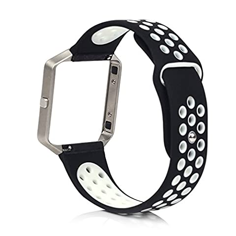 Owikar Fitbit Blaze Bracelet en silicone de remplacement Rubber Band pour Smart Fitness montres Fitbit Blaze double Couleurs Grande taille (7.1in–8,5en) pour homme et femme