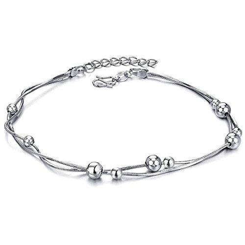 Beydodo Edelstahl Fußkette (Fußkettchen) Doppelte Kette mit Perlen Für Damen Weissgold