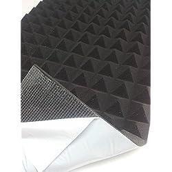 Mail2Mail - Panneau à absorption acoustique auto-adhésif, relief pyramidal - 99 x 49 x 4cm - Densité de 30 kg/m3 - Gris anthracite