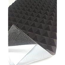 Panel de insonorización insonorizzazione acústica piramidal Vinilo decorativo 99 x 49 x 4 cm, color antracita densidad autoadhesiva 30 cm