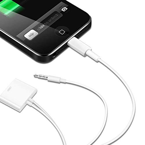 QUMOX 30 pin a 8 pin 3.5mm Cavo adattatore Bianco per iPhone 6 5S 5C 5 iPad 4 Mini