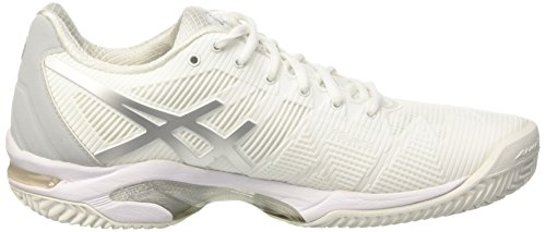 Asics Gel-Solution Speed 3 Clay, Chaussures de Tennis Femme Blanc Cassé (White/silver)