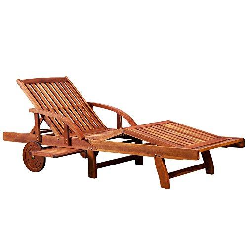 Deuba Sonnenliege Tami Sun | Akazien Holz verstellbar ausziehbarer Tisch klappbar | Gartenliege...