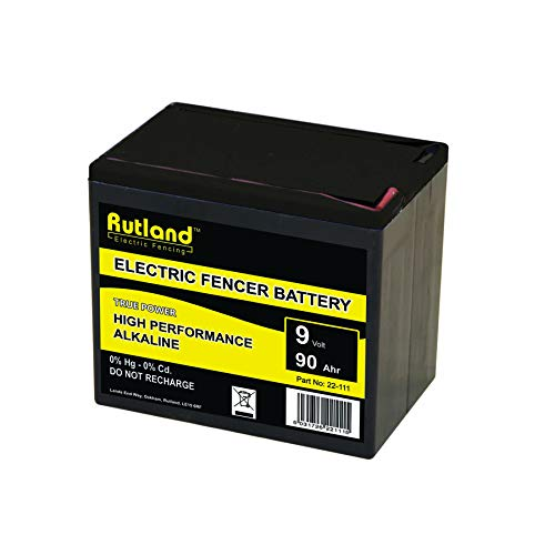 Rutland Batteria Grande alcalina per recinto Elettrico per Animali - 9 Volt, 90 Ah