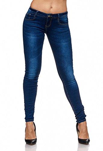 Arizonashopping - jeans pantaloni skinny attillati skinny skin stone washed dark d2078 da donna, farben:blu, größe damen:34/xs