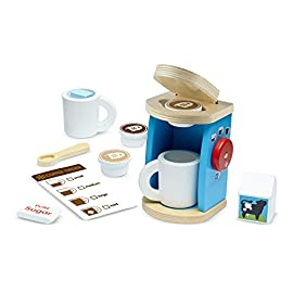 Melissa & Doug Wooden Brew & Serve Coffee Set | Pretend Play | Play Food | 3+ | Gift for Boy or Girl