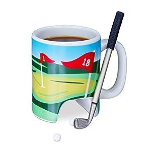 Relaxdays Golftasse mit Schläger, Putter mit Kugelschreiber, 2 Golfbälle,...