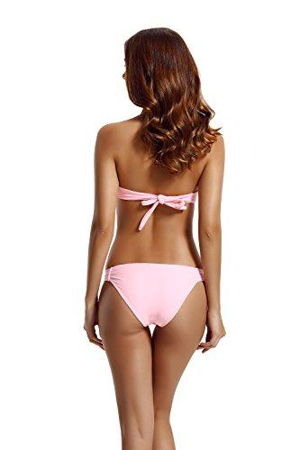 Zeraca Damen Diamant Push up Bandeau Bikini Badeanzug Euphoria Pink