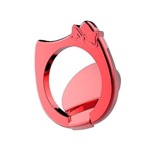 Hongfei Handy Finger Ring Halter Katze & Bowknot 360-Grad-Drehungs-Stand Dünn und flach für iPhone X / Samsung S9 / Android Smartphone Fit für magnetische Autohalterung rot