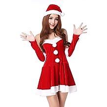 Baymate Disfraz Estilo Papá Noel Cosplay Fiesta Backless Vestido para Mujeres