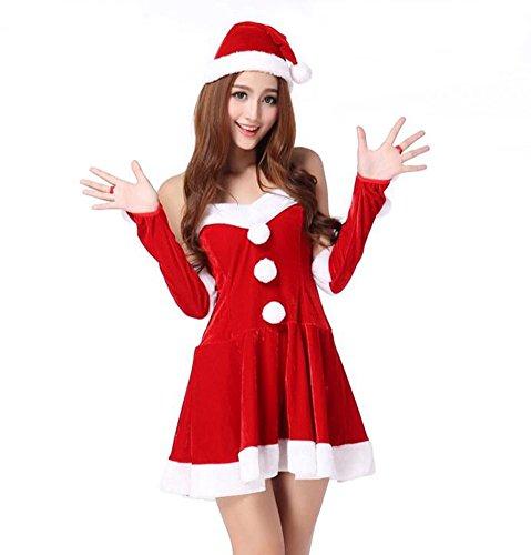 Baymate Damen Attraktiv Weihnachtskostüm Karneval Party Rückenfrei Kleid Performance Outfit Rot (Kleid+Hut+Ärmel)