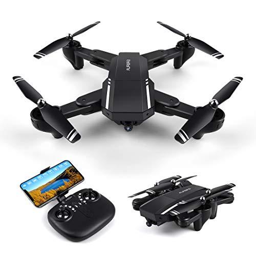 LBLA Faltbar Drohne mit Kamera HD 720P 120 ° Weitwinkel WiFi FPV 2.4GHz RC Quadcopter 6-Achsen-Gyro Ferngesteuertes Helikopter 3D-Flips Headless Modus für Anfänger und Kinder Schwarz