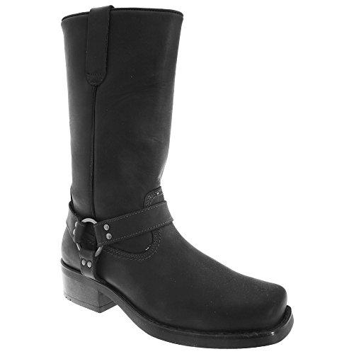 Gringos Herren Harley Western Harness Leder Stiefel (44 EU) (Schwarz) (Lace-up Leder Western Stiefel)