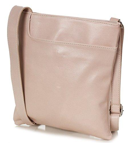 Taschenloft   Kleine Damen Umhängetasche 22x24x2cm   Leder-Handtasche für Frauen aus 100% Nappa Rinds-Leder   Schulter-Tasche oder Crossover-Bag (Bronze Gold) Altrosa (old rose)