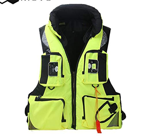 Fishing Vest Adjustable Mesh Mutil-Pocket Outdoor Sport Life ty Jacket Swimming Sail Yellow XL (Flight Jacket Mit Patches)