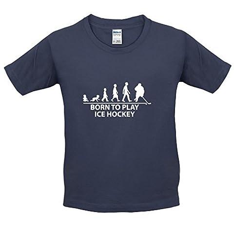 Born to Play Ice Hockey - T-Shirt Enfant - Bleu Foncé - L (9-11 ans)