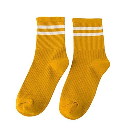 Calcetines amarillo mostaza deportivos de skate de algodón