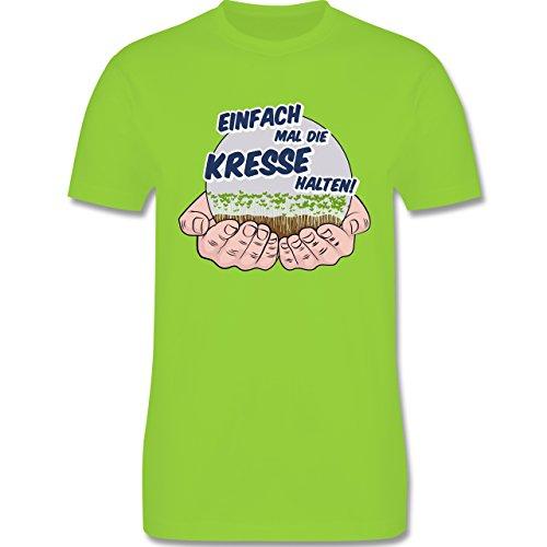 Sprüche - Einfach Mal Die Kresse Halten - Herren T-Shirt Rundhals Hellgrün