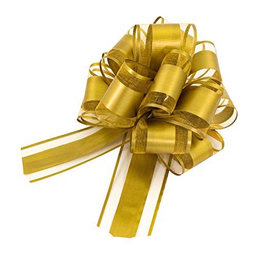 Oblique Unique® Geschenk Schleife mit Geschenkband Matt für Geschenke Tüten Zuckertüten zum Basteln Dekorieren Verzieren - Farbe wählbar (Gold)