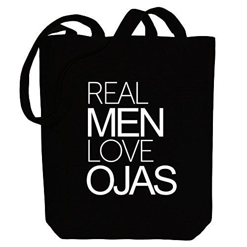 Idakoos Real men love Ojas - Männliche Namen - Bereich für Taschen