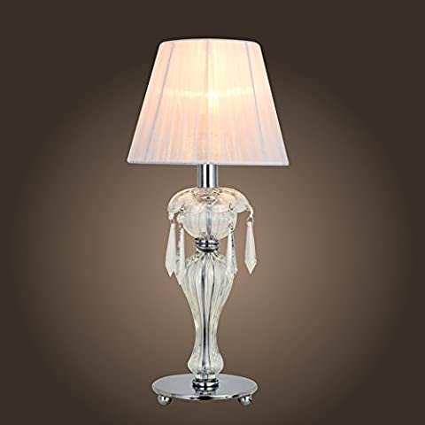 Saint Mossi® Minimalist Novelty Romantic Crystal & Glass Table Lamp with Fabric Shade for Bedroom Bedside Desk Lamp