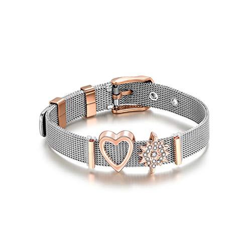 Aiming Herz-Entwurfs-Frauen-Mädchen-Edelstahl-Legierung Armband-Armband-Armband-Ketten-Stulpe Schmuck -