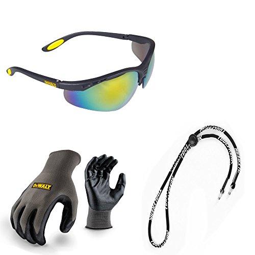 Dewalt-arbeits-handschuhe (Dewalt Schutzbrille Verstärker getöntes Spiegel Objektiv Schutzbrille mit DEWALT Nitril Grip Arbeit Safey Handschuhe und Halskordel Bundle)